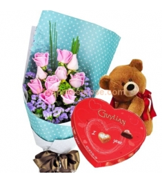 12 Pink Roses Bouquet,Chocolate Box w/ Bear Send to Philippines