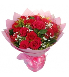 1 Dozen Red Roses in Bouquet to Philippines