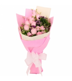 12 Peach Roses in Bouquet to Philippines