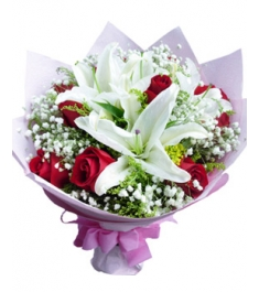 12 Red Roses with 2 White lilies