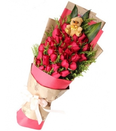 36 Red Roses with a Bear