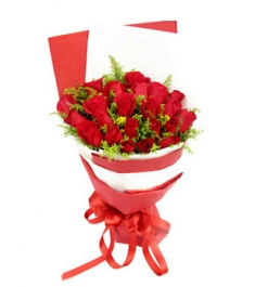 24 Red Roses Bouquet with Solidago