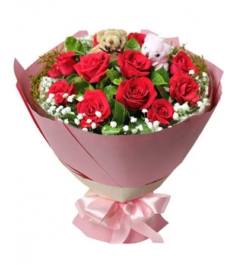 12 Steme Red Roses