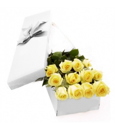 One Dozen Yellow Roses in a Box Delivery to Philippines