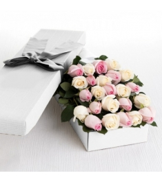 2 Dozen Cream and Light Pink Roses in a Box Delivery to Philippines