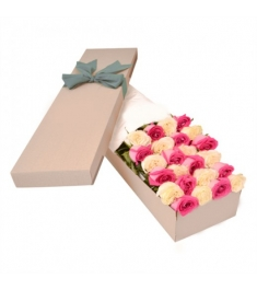 2 Dozen Pink and Peach Roses in a Box Delivery to Philippines