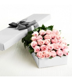 2 Dozen Light Pink Roses in a Box Delivery to Philippines