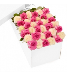 3 Dozen Pink & White Roses in a Box Delivery to Philippines