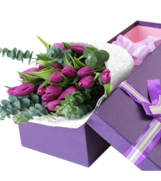 15 pcs Purple Tulip in Box to Philippines