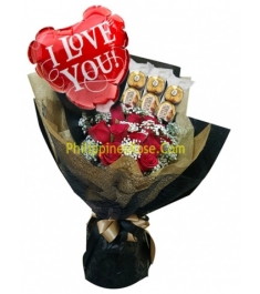 buy roses ferrero & balloon bouquet philippines