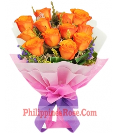 online 12 orange roses bouquet philippines