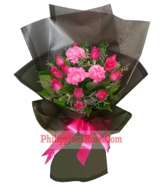 buy 12 pink roses with carnations in manila