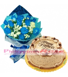 Father's Day Blue Roses with Coffee Crumble Cake