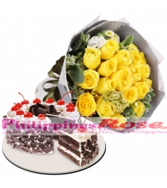 24 Yellow Roses with Black Forest Cake