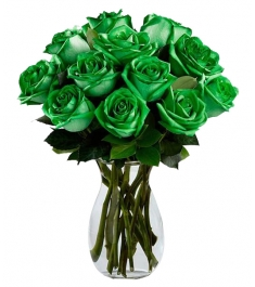 12 Green Roses Vase to Philippines