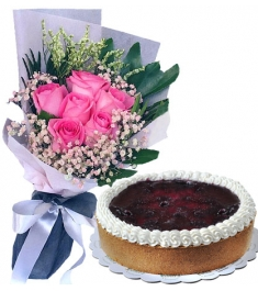 send roses bouquet with cheesecake philippines