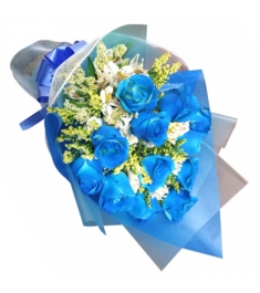 Dozen of Blue Roses in a Bouquet