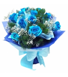 12 pcs of Blue Roses in a Bouquet