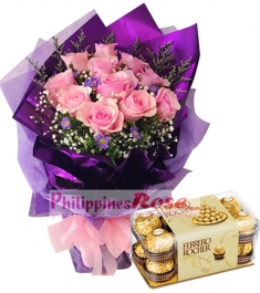 12 Pink Roses in a Bouquet with Ferrero Rocher