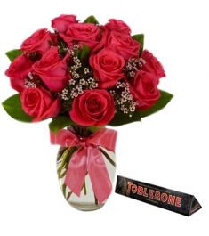 12 Red Roses witha box of m&m milk chocolate 43.5g