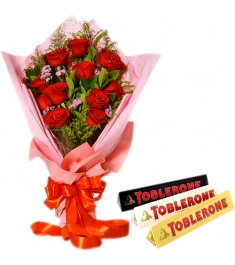 12 Red Roses With Toblerone 3 Varieties Chocolates