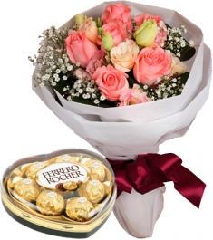 12 Mixed Roses Bouquet with Ferrero Heart Box