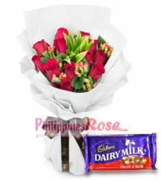 12 Red Roses with Cadbury Chocolate