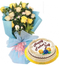 12 Yellow Roses with Marble Chiffon Cake