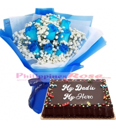 12 Blue Roses with Chocolate dedication cake by red ribbon