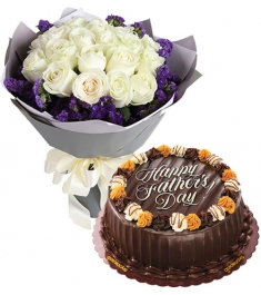 12 White Roses Bouquet with Cake