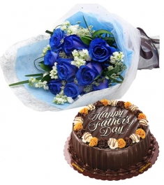 12 blue Roses Bouquet with Cake