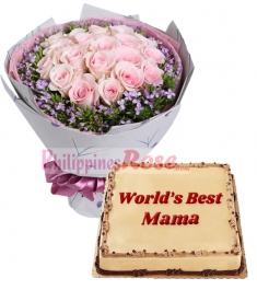 12 Pink Roses in Bouquet with Mocha Dedication Cake