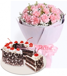 12 Pink Carnation Bouquet with Black Forest Cake by Red Ribbon