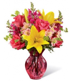 pink roses lilies with mix flowers to philippines