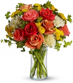mix rose carnations with seasonal flowers vase to philippines