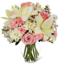 pink roses carnations vase to philippines