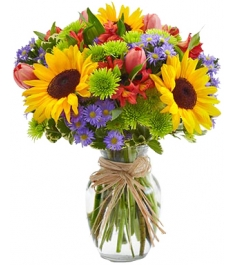sunflowers with seasonal flowers vase to philippines