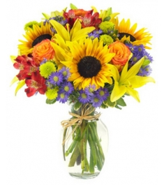 lilies sunflowers with flowers in vase to philippines