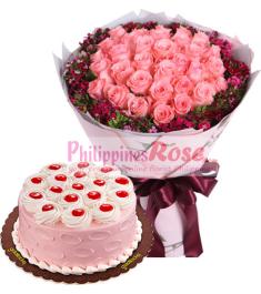 12 pink rose bouquet with mocha chiffon cake