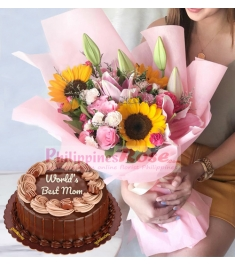 roses sunflowers bouquet with chocolate cake