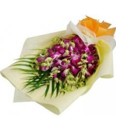 10 Pcs Pink Color Orchids in a Bouquet