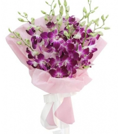 12 Purple Orchids in a Bouquet