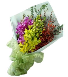 12 Mixed Color Orchids in a Bouquet