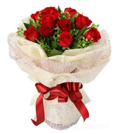 12 Red Roses in a beautifully wrapped bouquet