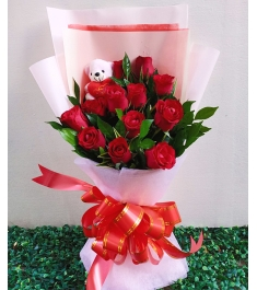 12 Red Roses with FREE Mini Bear