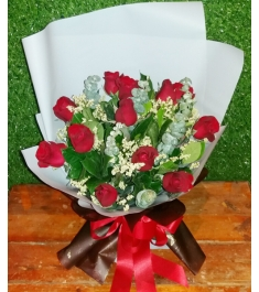 12 Red and White Roses in a Bouquet