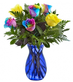 Send 6 Rainbow Rose Vase to Philippines