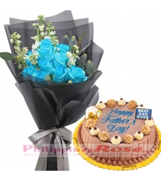 12 Blue Roses with Father's Day Triple Delight Cake