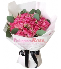36 Pink Roses in Bouquet