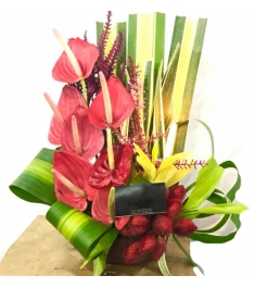 Anthurium in a Basket Arrangements For All Saints' Day